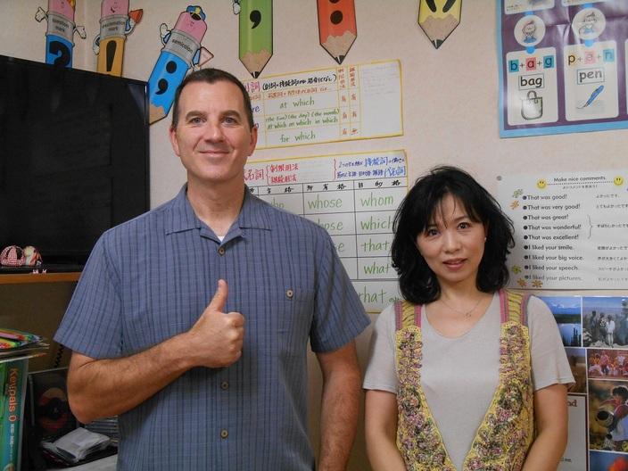恵美&ジェフゴーンえいご教室(桜馬場教室)             ENGLISH CORNER(アーケードサテライト教室)
